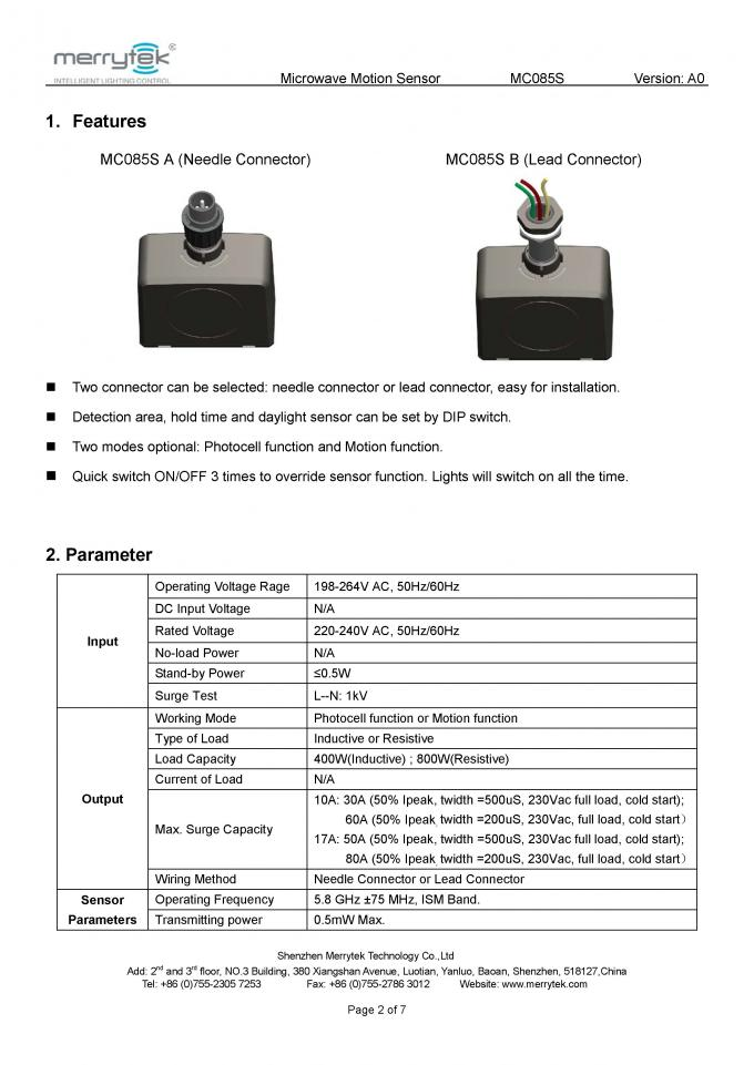 IP 65 needle / lead connector Microwave Motion Sensor   night/light function and ON/OFF function