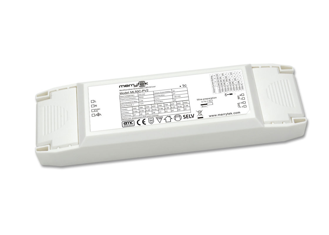 Multi Output 1 10v Dimmable Led Driver 50w For Panel Light Rohs 12v Drive 7 High Efficiency White Flashlight